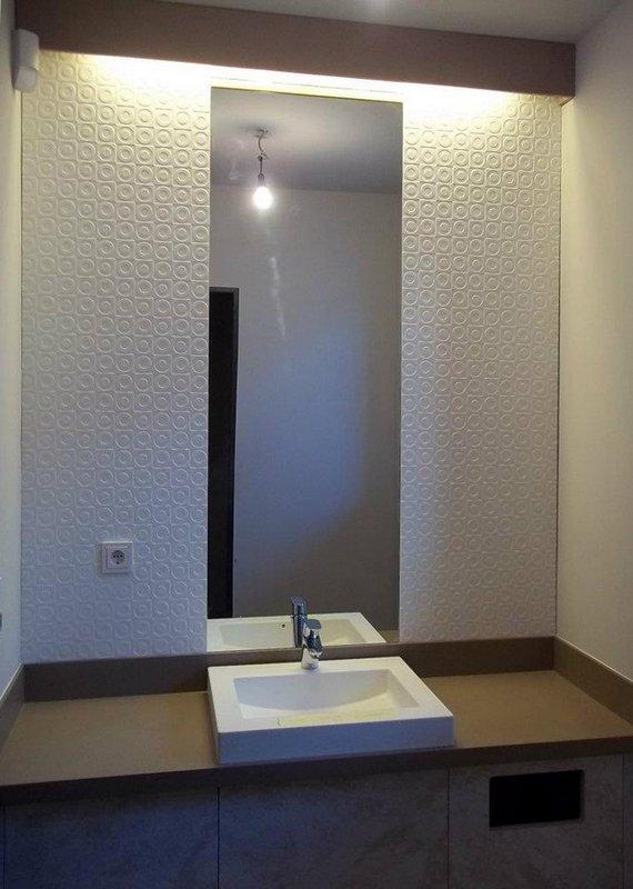 Bílá umyvadlová deska, umyvadlo, obklad stěn askříňka - umělý kámen Swanstone