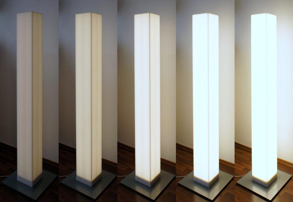 Designová stojací lampa sregulací intenzity - umělá kámen LG Hi-Macs