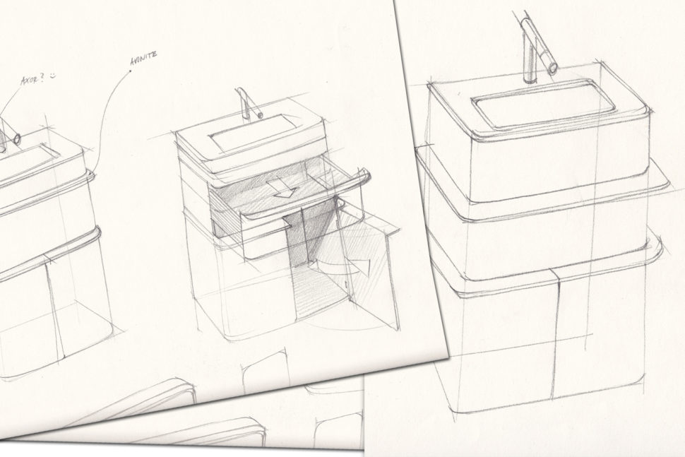 Nákres koupelnového nábytku AquaLight -umělý kámen Avonite