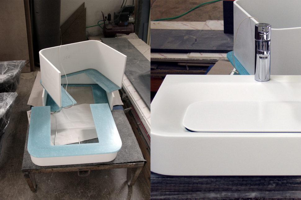 Koupelnový nábytek AquaLight zumělého kamene Avonite - výroba