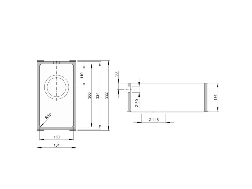 Rozměry kuchyňského dřezu ACCIO 160S zumělého kamene