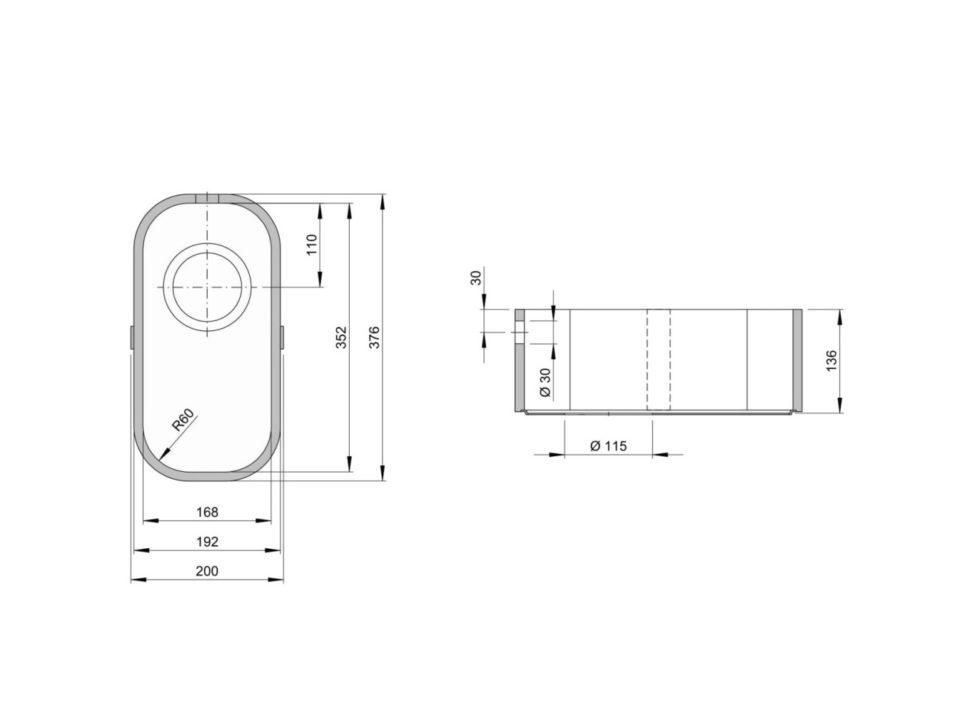 Rozměry kuchyňského dřezu ACCIO 168C zumělého kamene