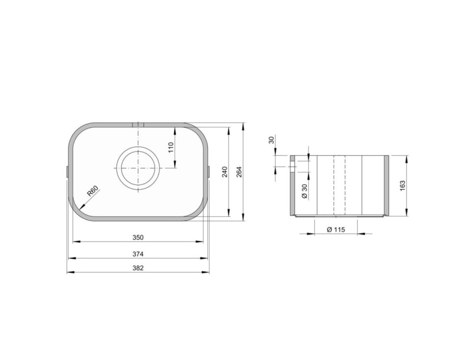 Rozměry kuchyňského dřezu ACCIO 240C zumělého kamene