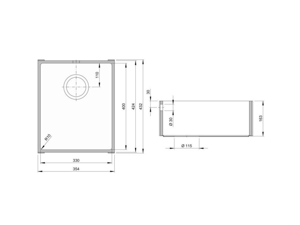 Rozměry kuchyňského dřezu ACCIO 330S zumělého kamene