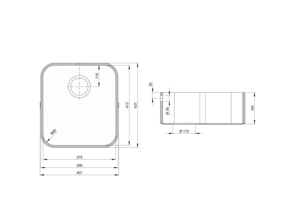 Rozměry kuchyňského dřezu ACCIO 375C zumělého kamene