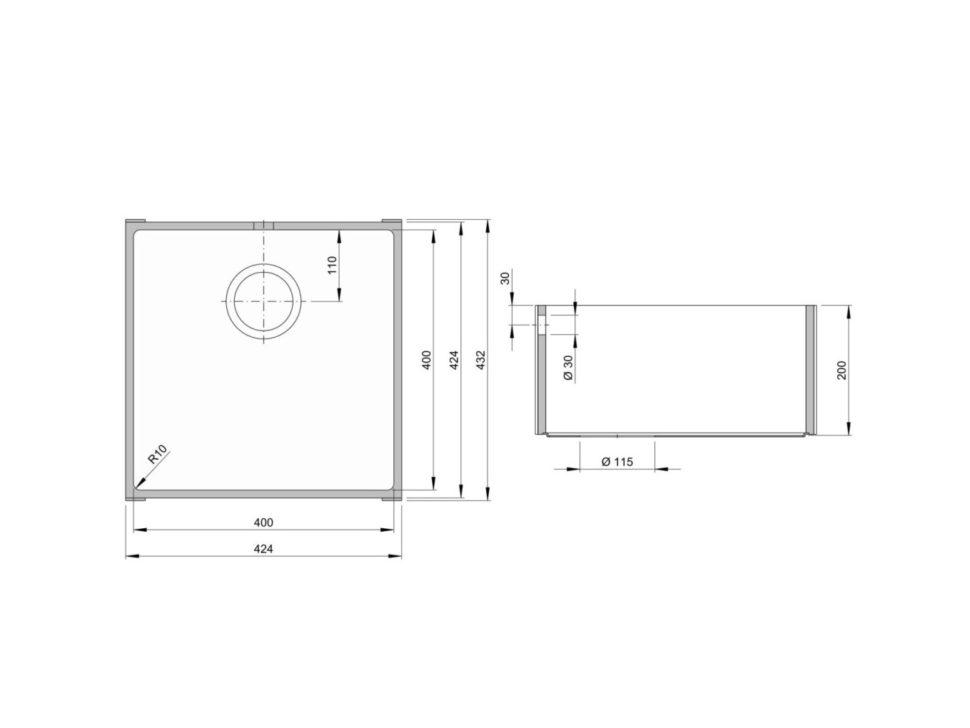 Rozměry kuchyňského dřezu ACCIO 400S zumělého kamene