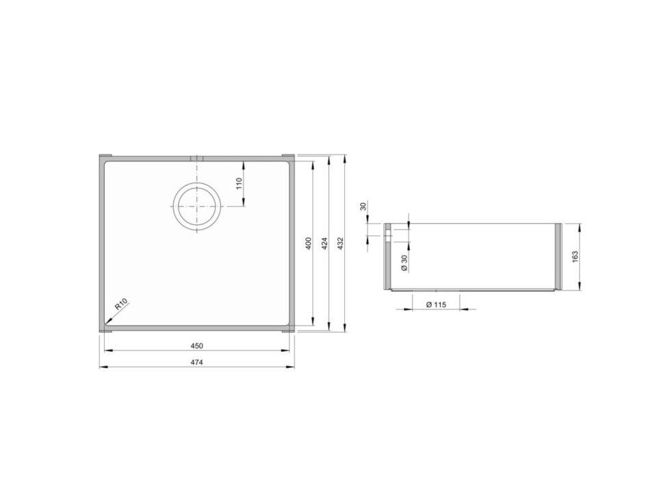 Rozměry kuchyňského dřezu ACCIO 450S zumělého kamene