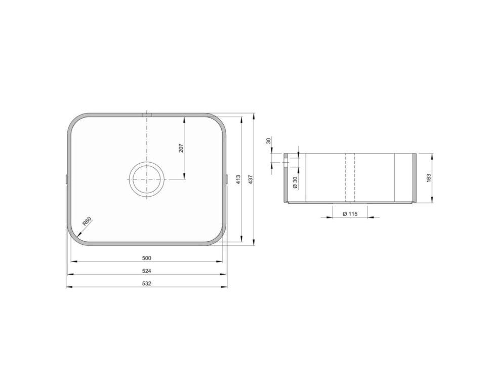 Rozměry kuchyňského dřezu ACCIO 500C zumělého kamene
