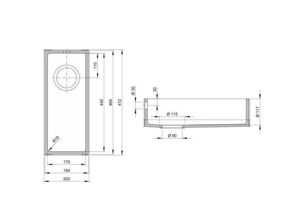 Rozměry kuchyňského dřezu CTS 170S zumělého kamene