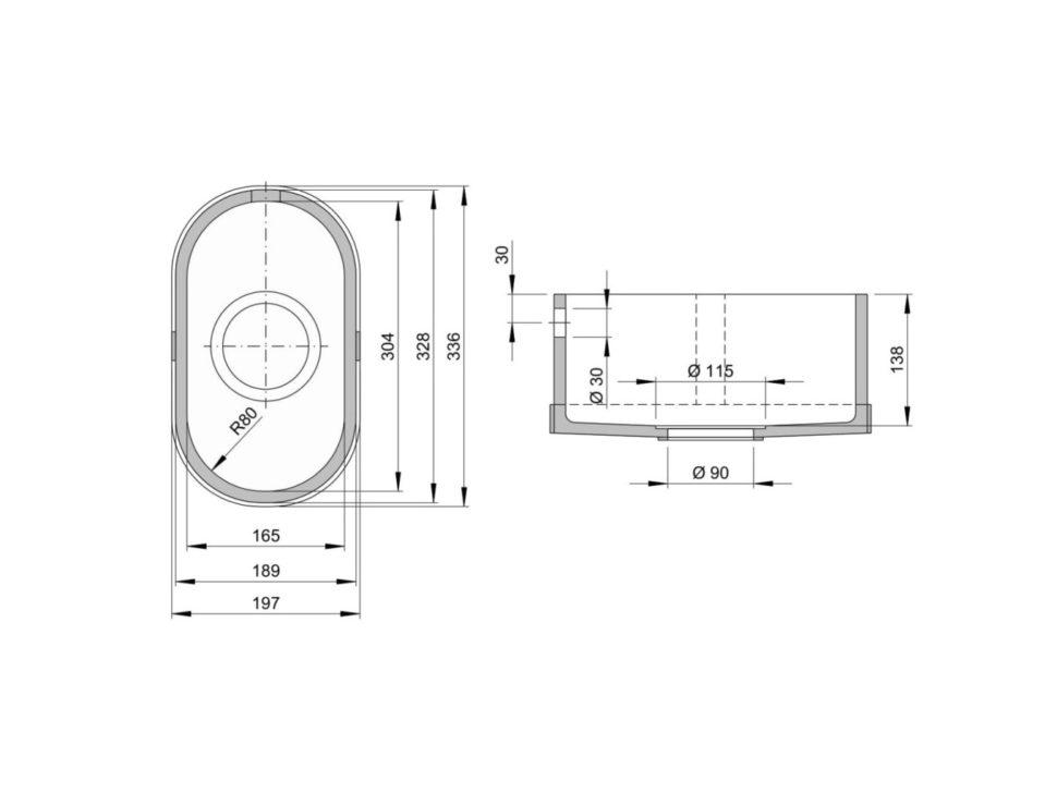 Rozměry kuchyňského dřezu CTS 304C zumělého kamene