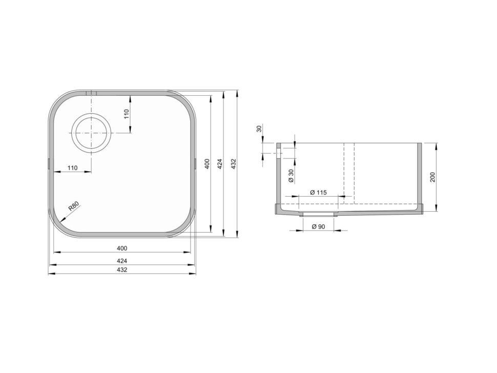 Rozměry kuchyňského dřezu CTS 400C zumělého kamene
