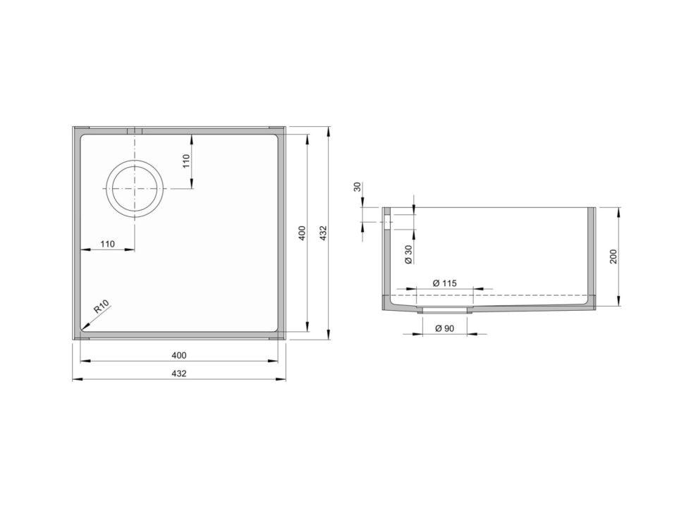 Rozměry kuchyňského dřezu CTS 400S zumělého kamene