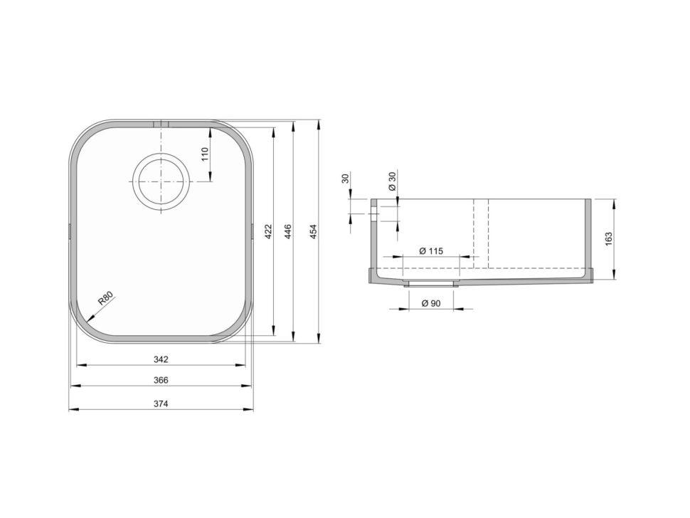 Rozměry kuchyňského dřezu CTS 422C zumělého kamene