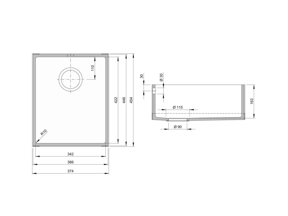 Rozměry kuchyňského dřezu CTS 422S zumělého kamene