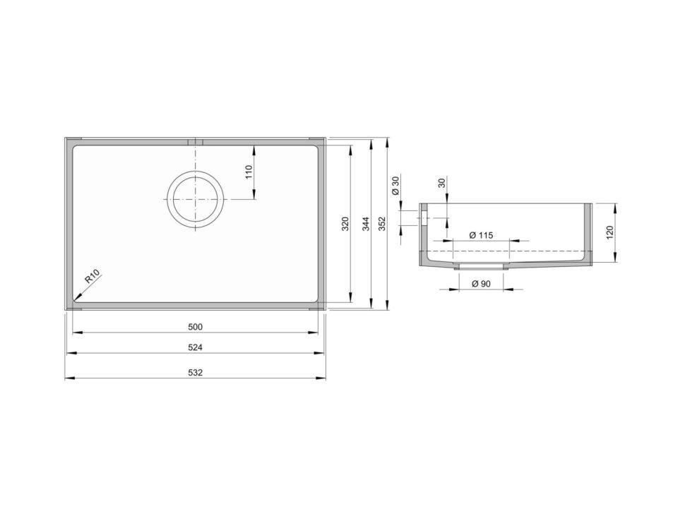 Rozměry kuchyňského dřezu CTS 500S zumělého kamene