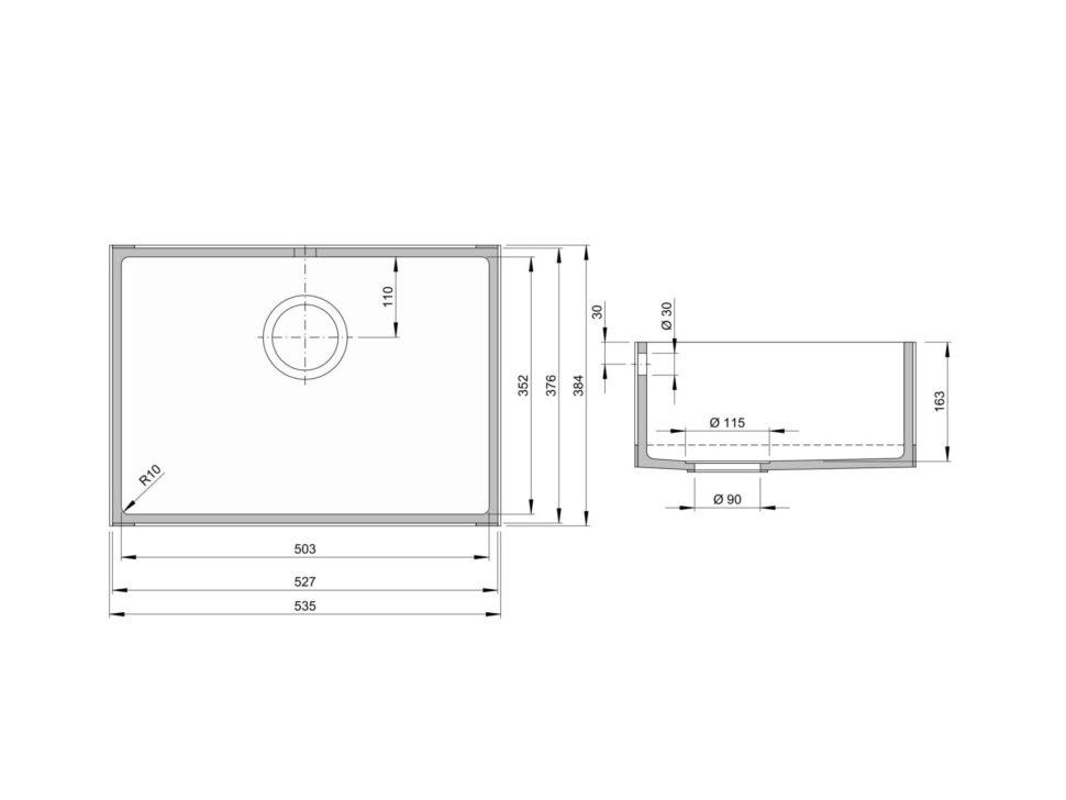 Rozměry kuchyňského dřezu CTS 503S zumělého kamene