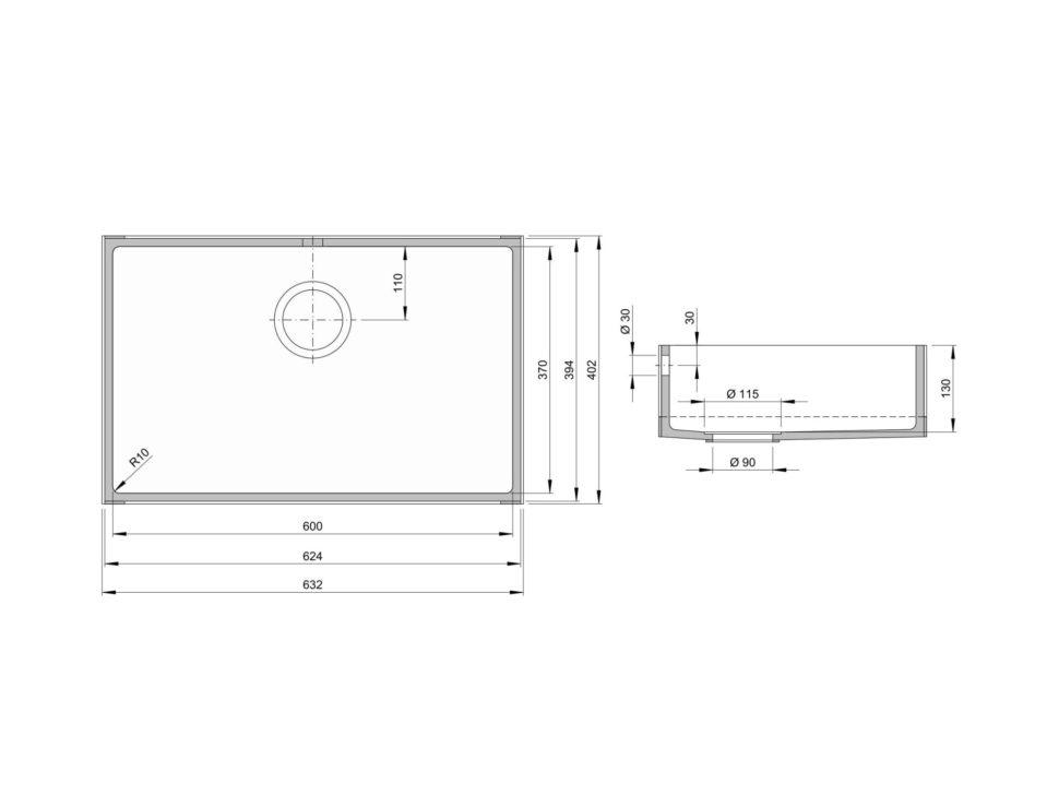 Rozměry kuchyňského dřezu CTS 600S zumělého kamene